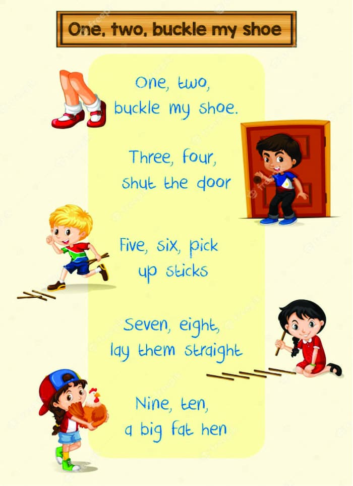 one two buckle my shoe three four shut the door, one two buckle my shoe song, one two buckle my shoe nursery rhyme, what ryhmes with one, buckle my shoe, buckle your shoe, buckle my shoe song, rhymes with buckle